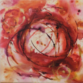 Red Circles - Angeles Salinas - 36'' x 36'' - Acrylic on Canvas