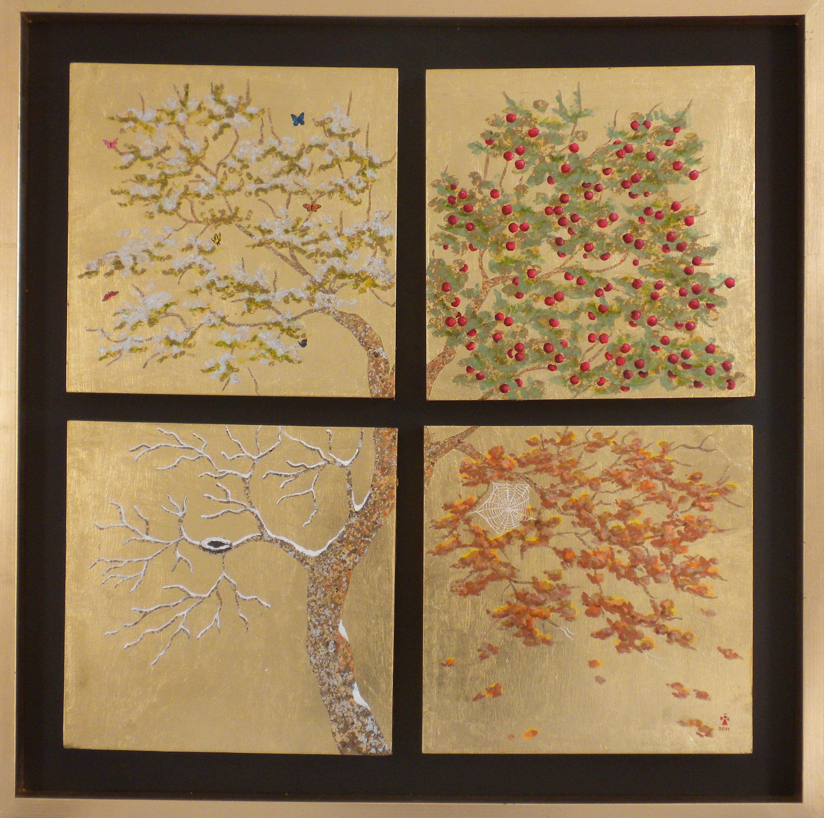 Four Seasons - Angeles Salinas - 19'' x 19'' - Mixed Media on Wood