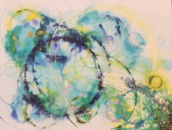 Blue Circles - Angeles Salinas - 36'' x 35'' - Acrylic on Canvas