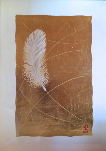 Feather - Angeles Salinas - 12'' x 16'' - Mixed Media on Paper