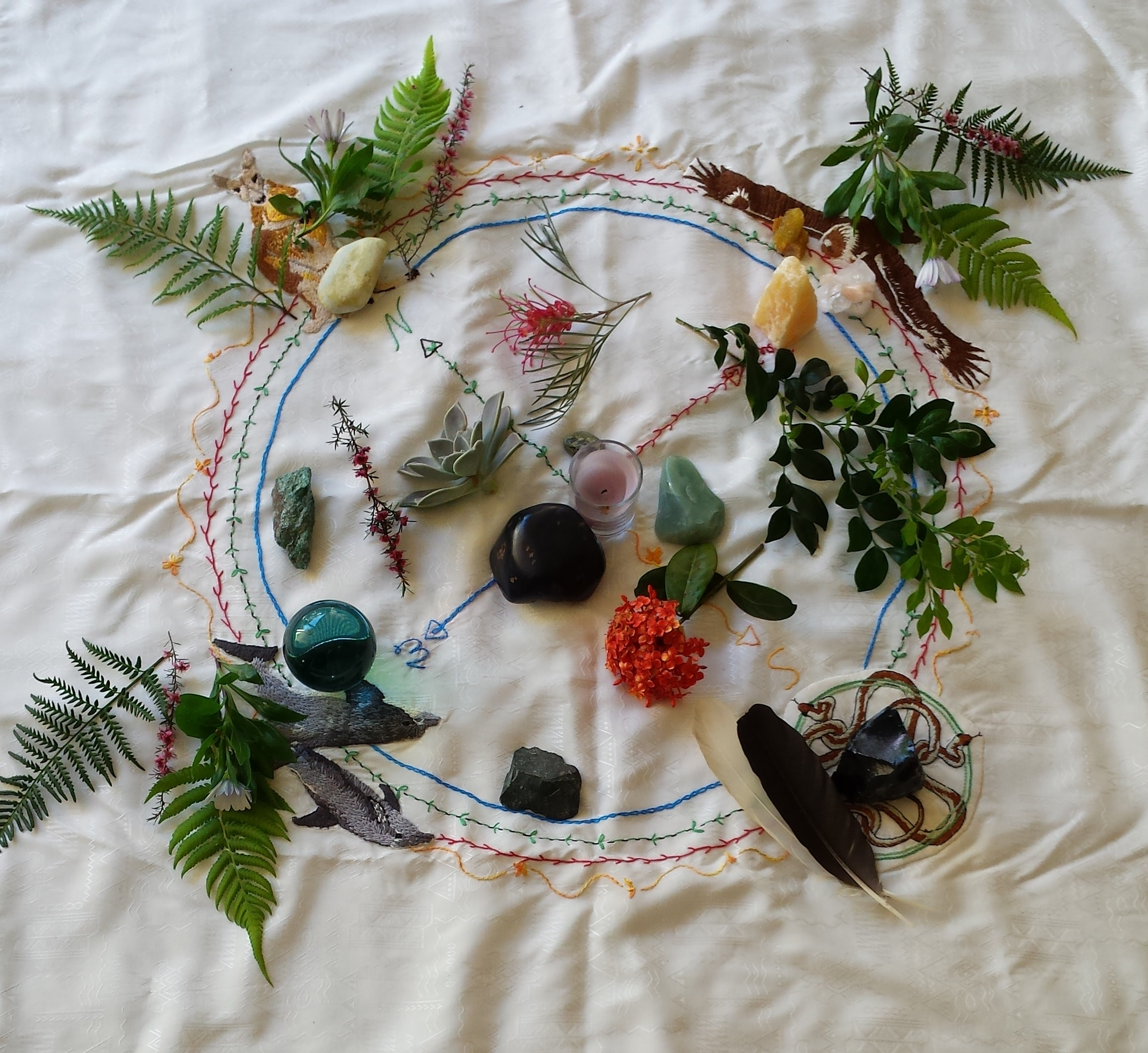Sacred Circle cloth with plants