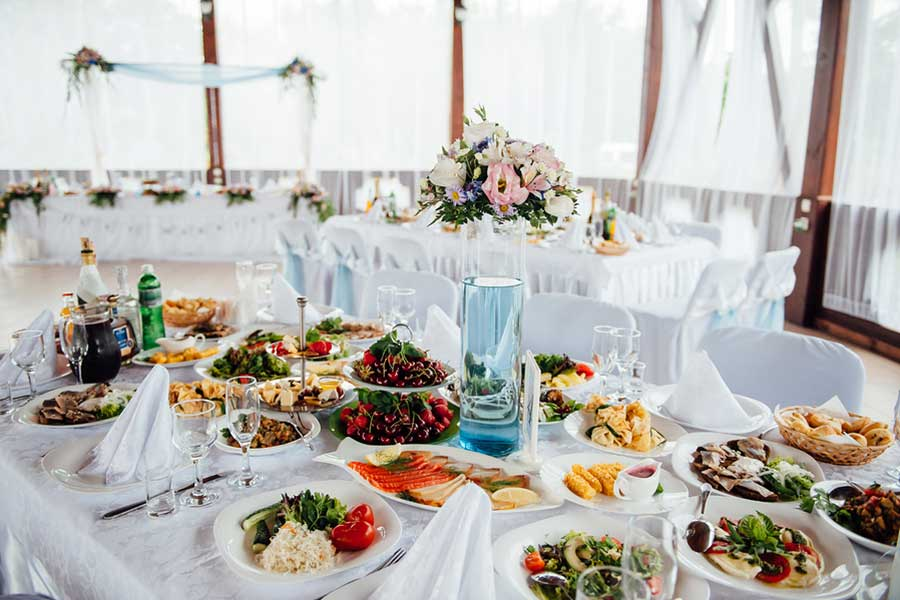 Outside Catering Choice Offered at Event Center for Your Reception
