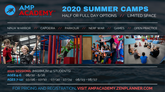 Summer Camp Flyer Displaying Kids having fun playing jumping climbing nerf wars