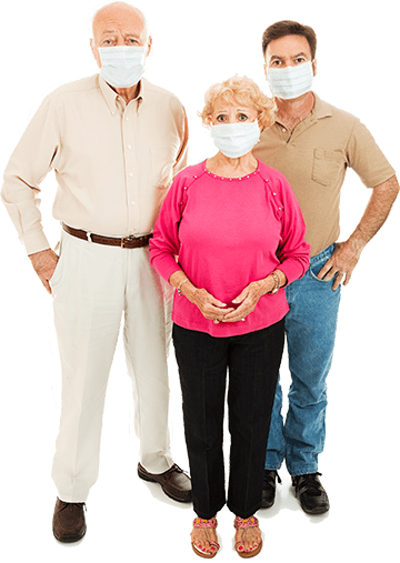 Relaxing Social Distancing Family Wearing Masks