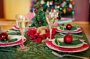 holiday decorations on table