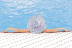 enjoying time in swimming pool