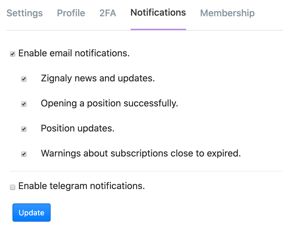 Zignaly Notifications