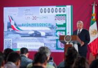 México rifará el equivalente al valor del avión presidencial el 15 de septiembre de 2020