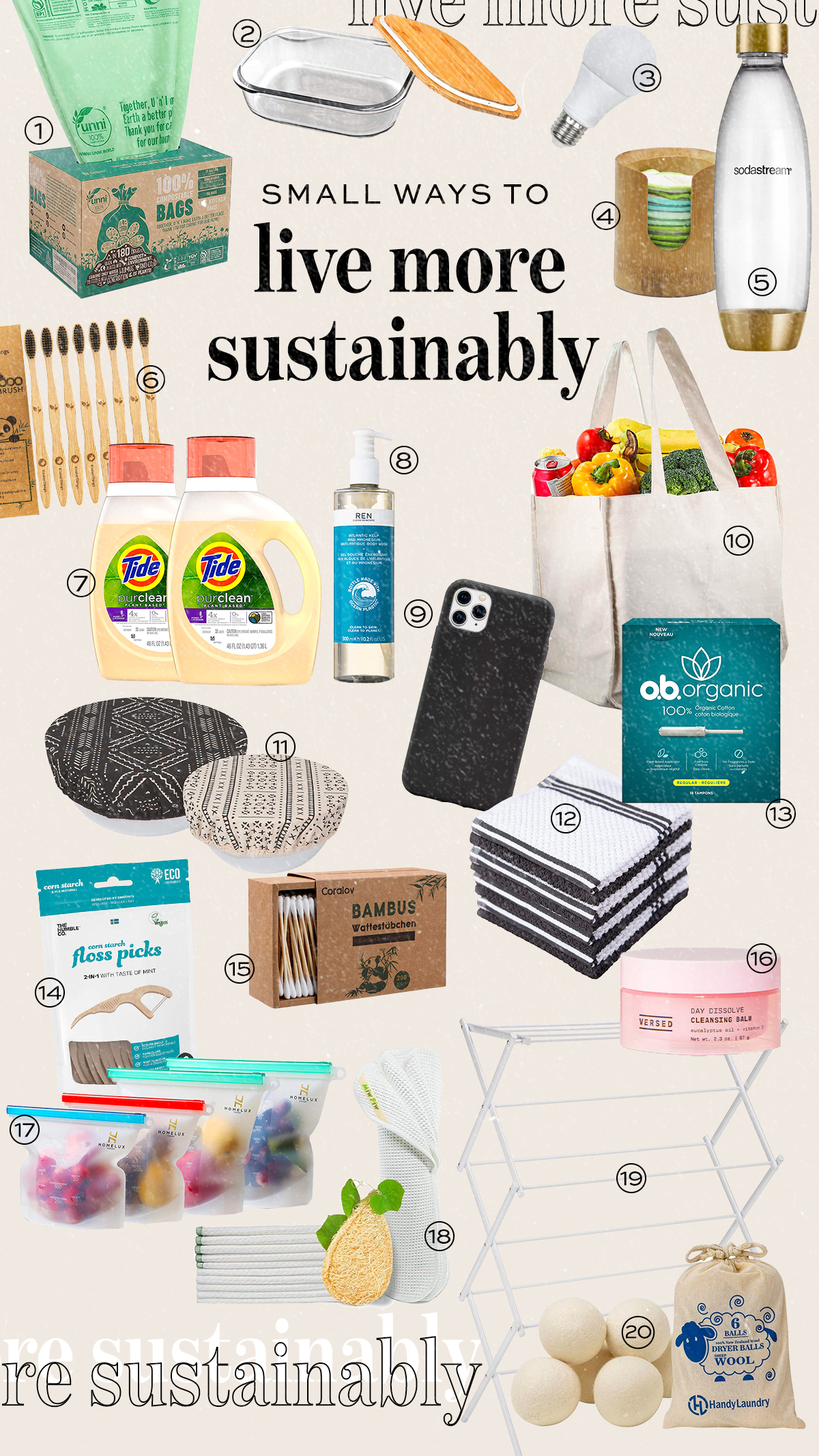 Small ways to live more sustainably collage