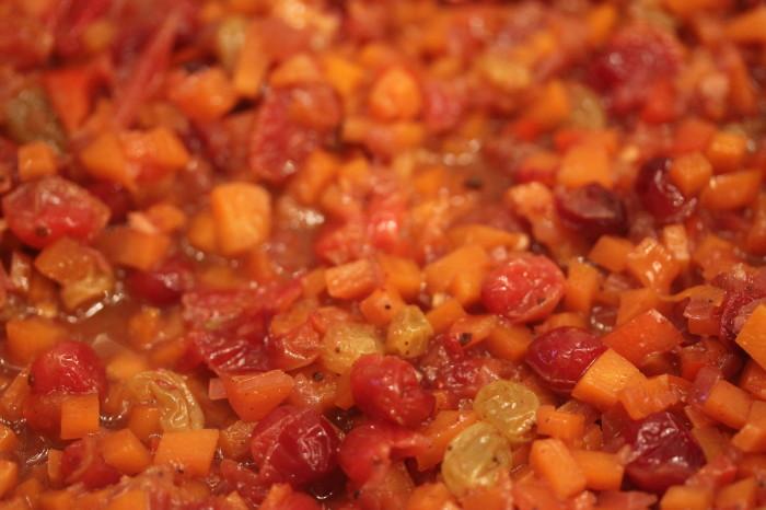 Suzen's Thanksgiving Chutney: Carrots, Raisins, Bell Pepper and Cranberries