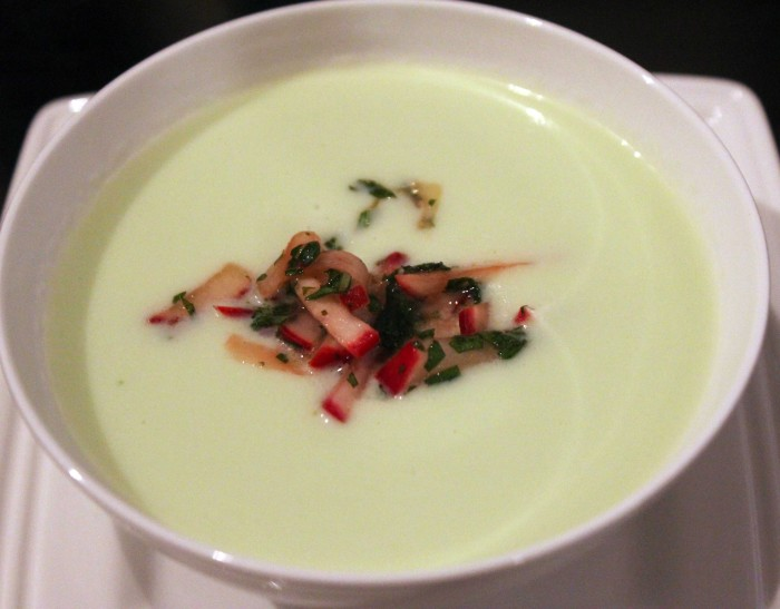 Chilled Cucumber-Melon Soup with Radish-Mint Salsa