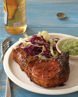Chile-Glazed Pork Chops with Fresh Tomatillo Sauce