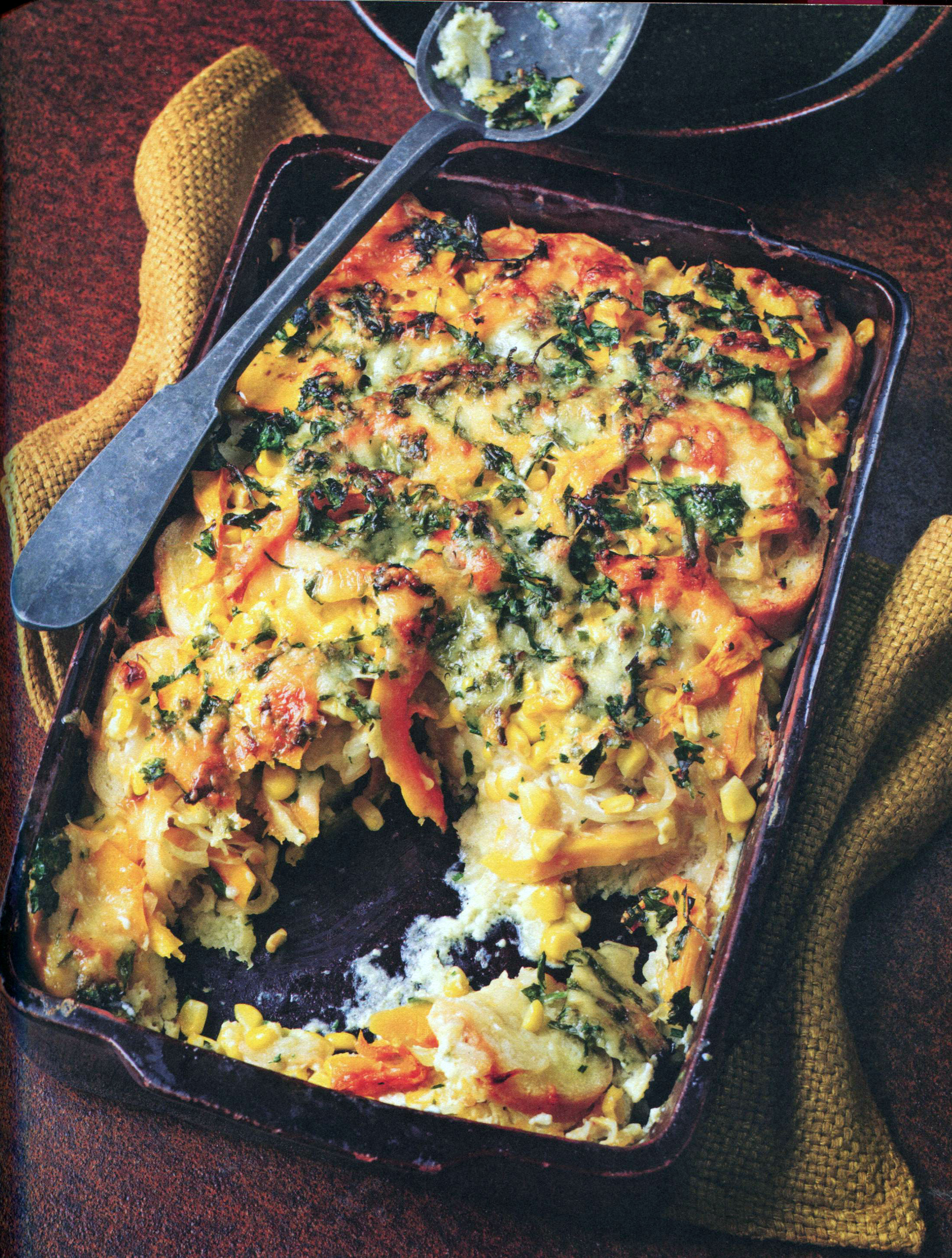 TBT Recipe: Butternut Squash, Corn and Bread Bake with Cheese and Chives