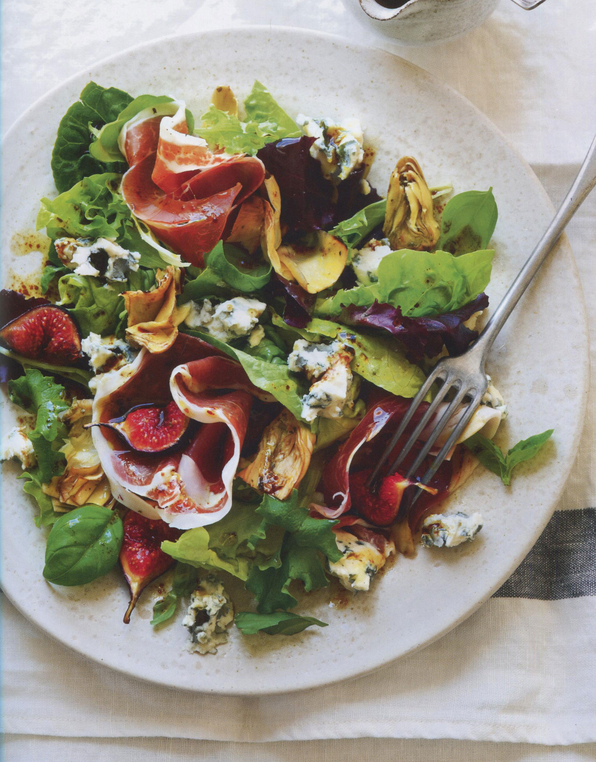 Prosciutto, Artichoke, Fig and Roquefort Salad with Balsamic Dressing
