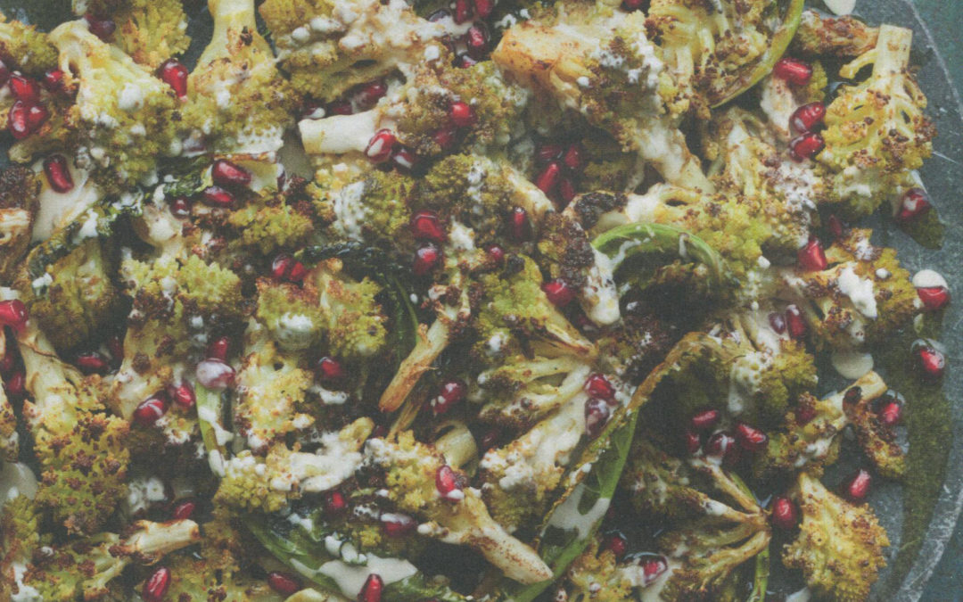Roasted Romanesco Cauliflower with Tahini and Pomegranates from Zaitoun by Yasmin Khan