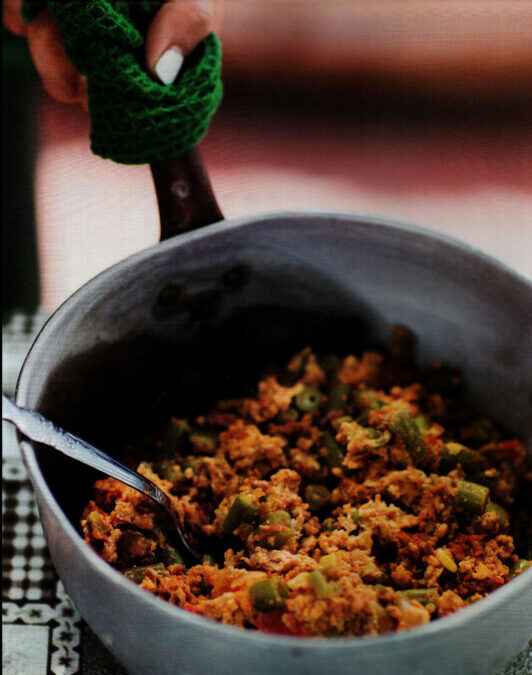 Scrambled Eggs with Green Beans and Chorizo from Ama