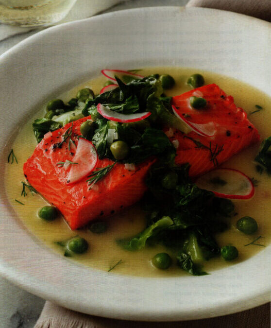 Salmon with Buttery French Pea and Lettuce Broth