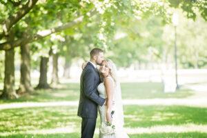 happy bride in saratogo springs wedding