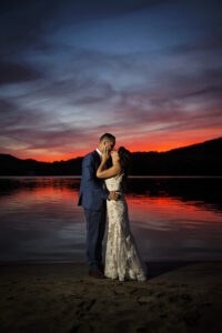 sunset photo of bride and groom