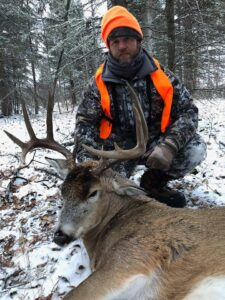 A 2019 successful Trophy Whitetail hunter with Saskatchewan Big Buck Adventures