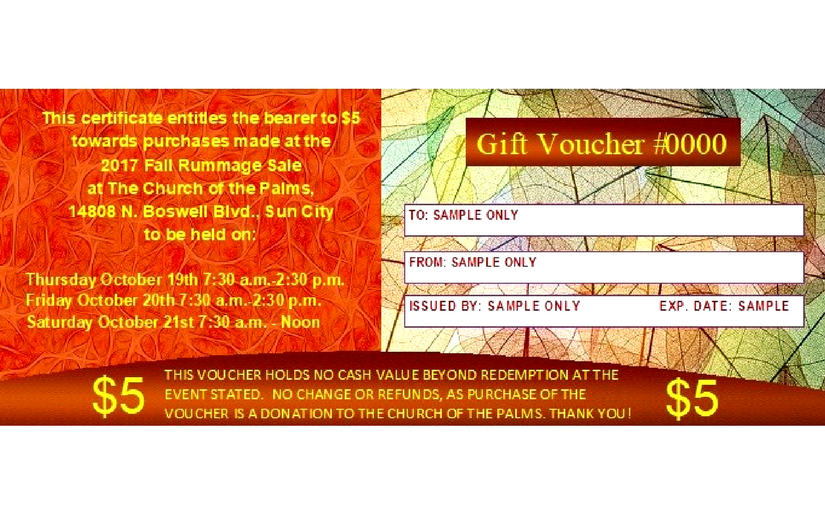 Church of the Palms UCC Sun City fall rummage sale gift certificate