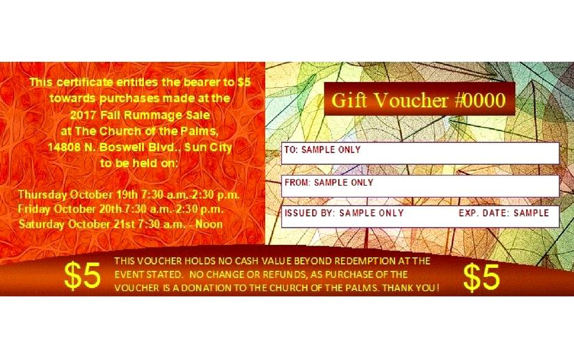 rummage sale gift certificates