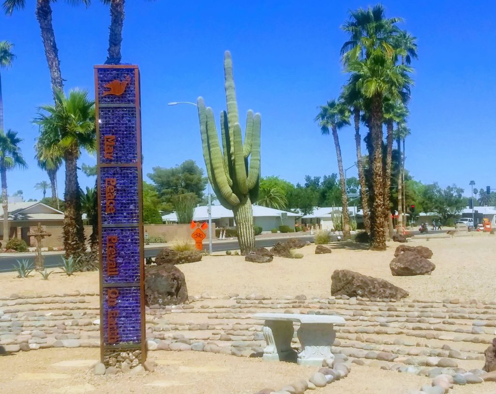 the peace pole at The Labyrinths at The Palms
