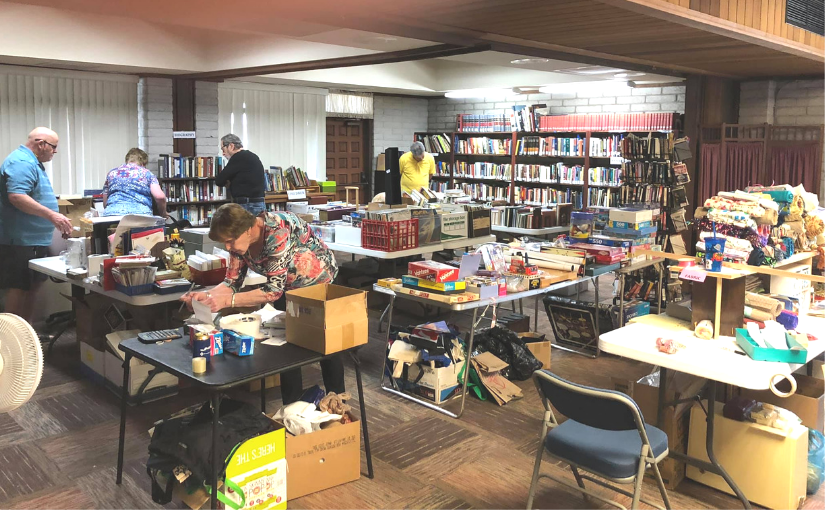 Thank you for being the church! Church of the Palms Rummage Sale volunteers hard at work.