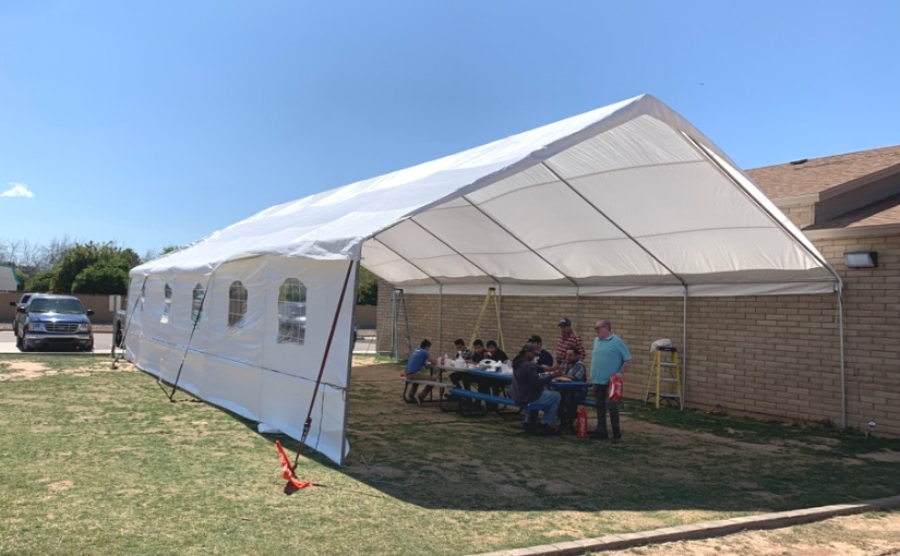 large tent provided by Church of the Palms UCC