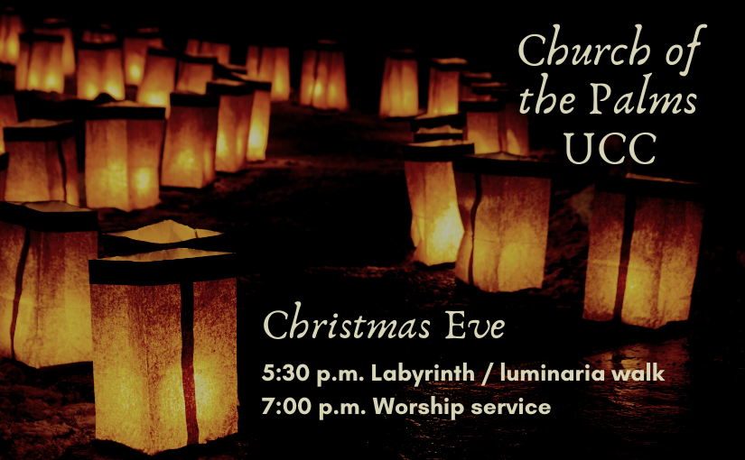 Christmas Eve luminarias at Church of the Palms UCC