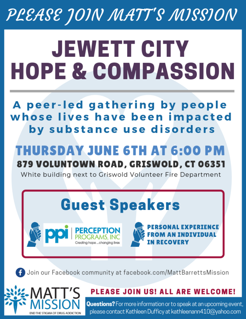 Join us for Jewett City Hope and Compassion on June 6th, 2019.