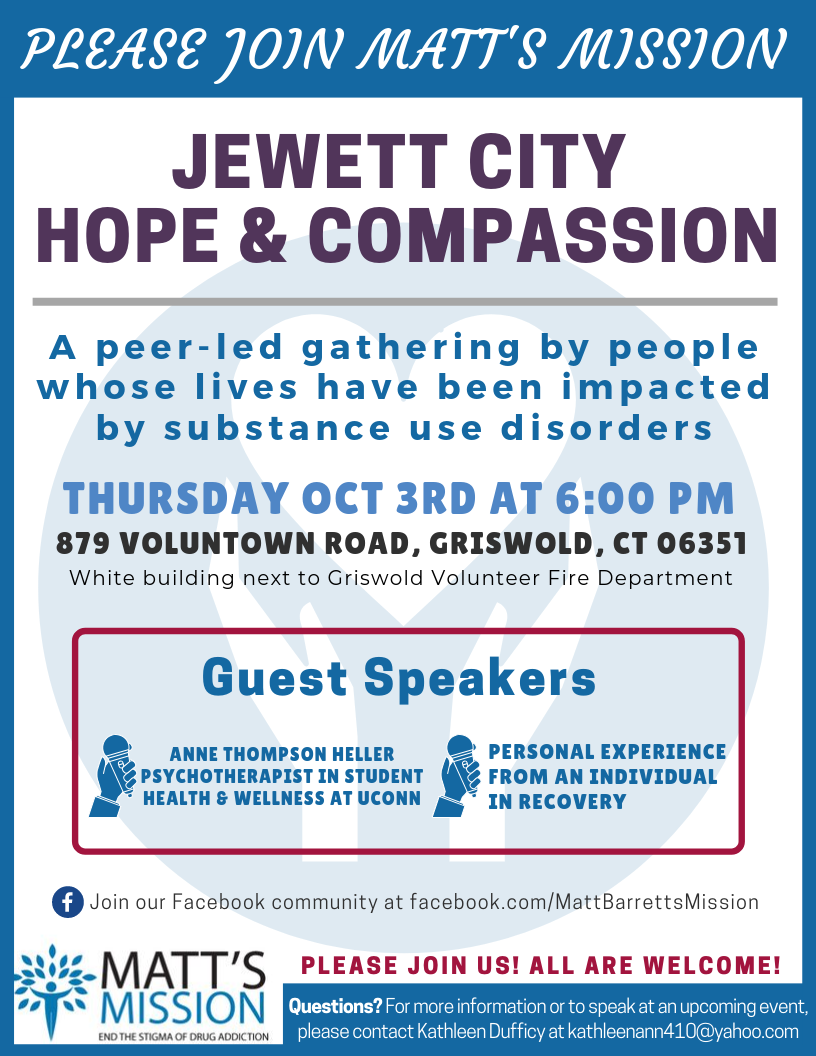 Join us for Jewett City Hope and Compassion on October 3rd, 2019.