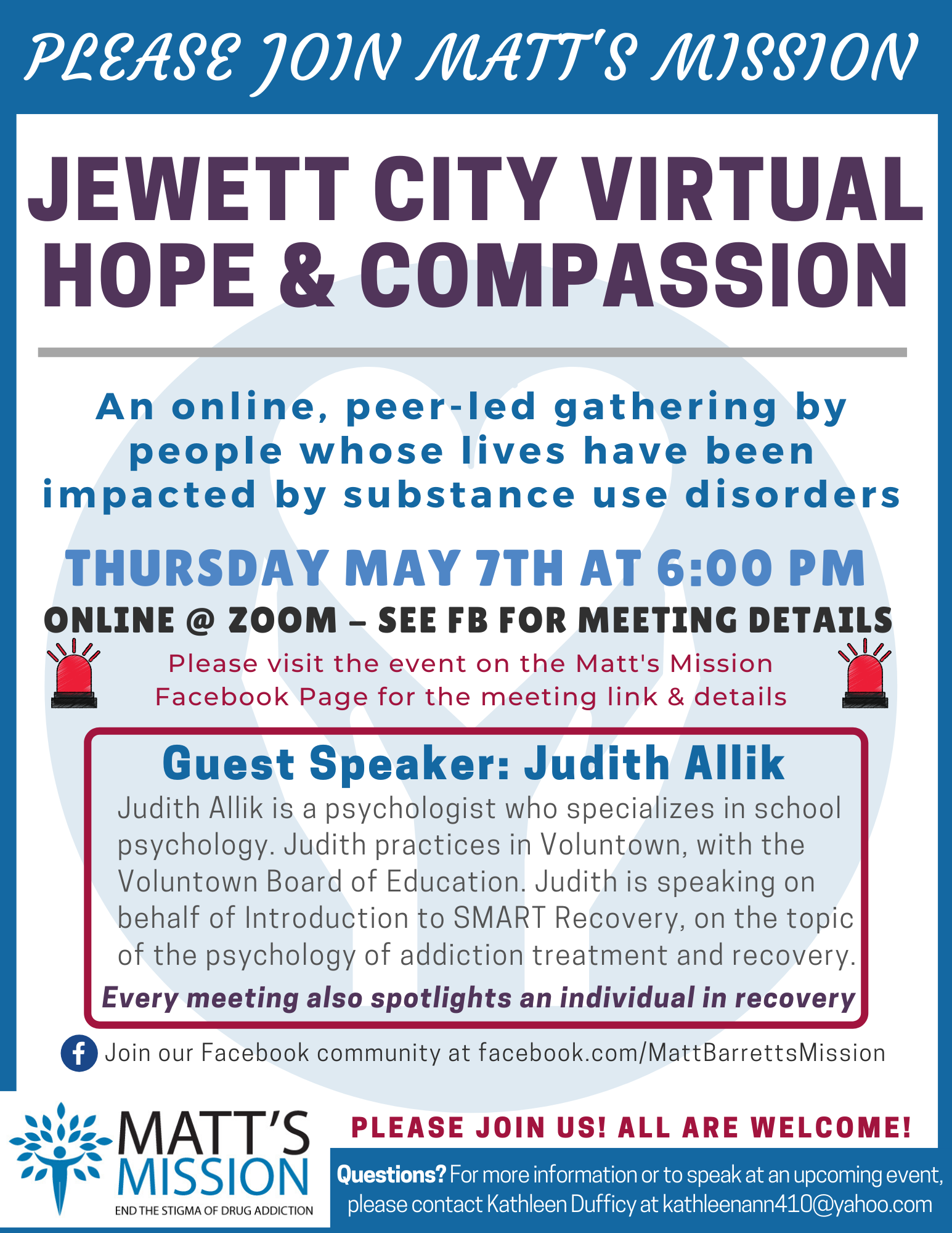 Join us for Jewett City Hope and Compassion on May 7th, 2020.