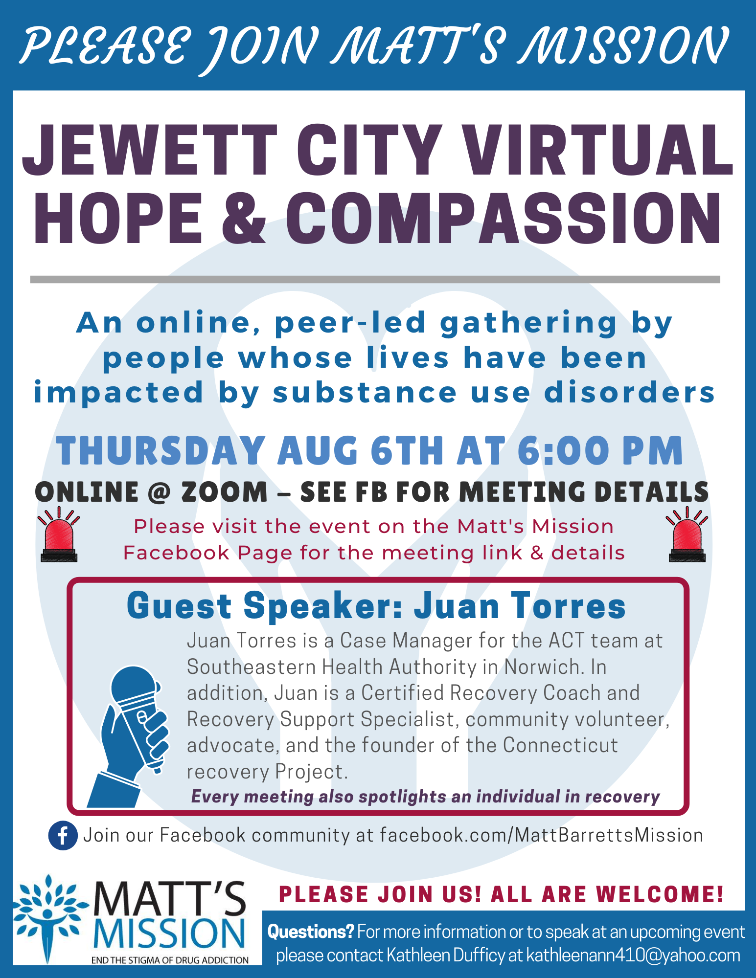 Join us for Jewett City Hope and Compassion on August 6th, 2020.