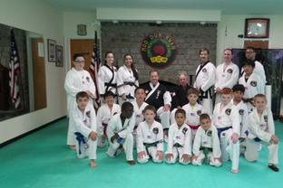 L.I. Tae Kwon Do family with Grandmaster Babcock and Master Festa