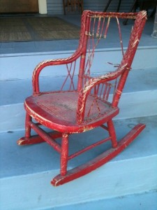 Child's wicker chair before restoration