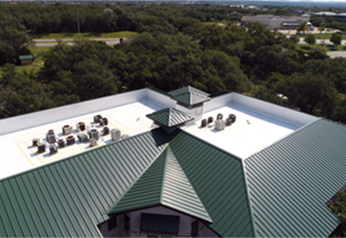 roofing contractor piture of metal and tpo roof from above