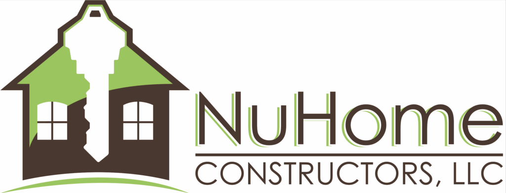 Logo for NuHome Constructors, Limited Liability Company with illustration of green and brown house, with white key in the center
