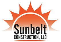 Logo for Sunbelt Construction Limited Liability Company with illustration showing half of an orange sun