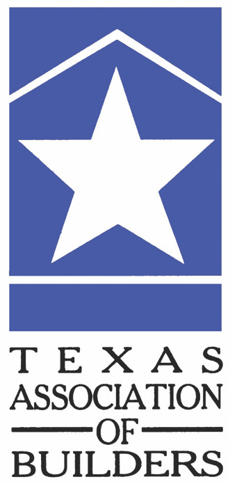 Logo for Texas Association of Builders with blue box, white lines in shape of house, and large white star in center