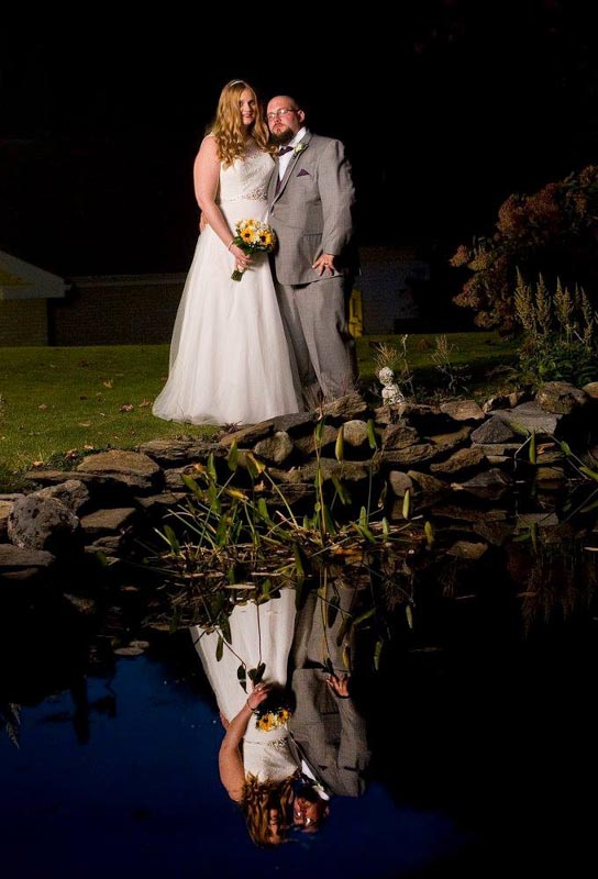 Bride and Groom with Reflection