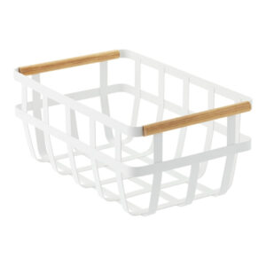 white metal and bamboo basket