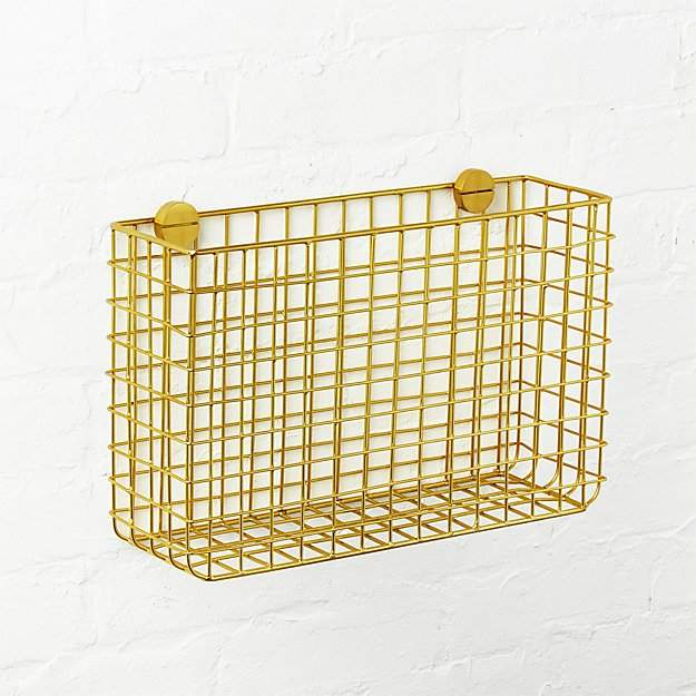 CB2 brass magazine rack