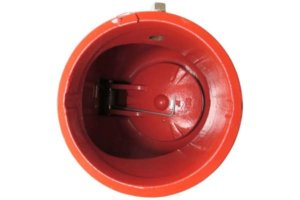 The hinged clapper inside this 6-inch grooved check valve is held in place by a spring until water flows push it open. False alarm fire sprinkler