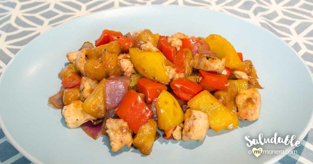 Pollo con salsa agridulce versión baja en grasa