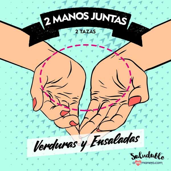 manos juntas 2 tazas