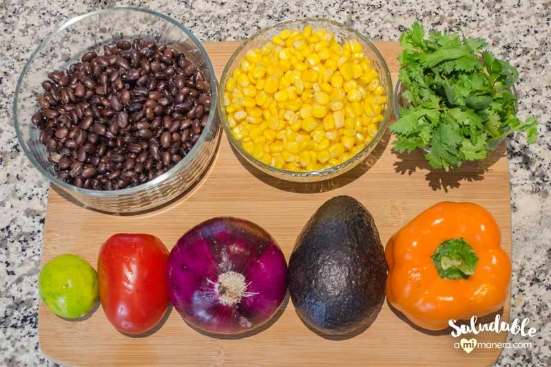 ensalada multicolor vegetariana