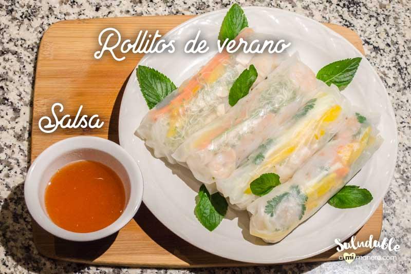 Rollitos de verano con salsa de chile dulce