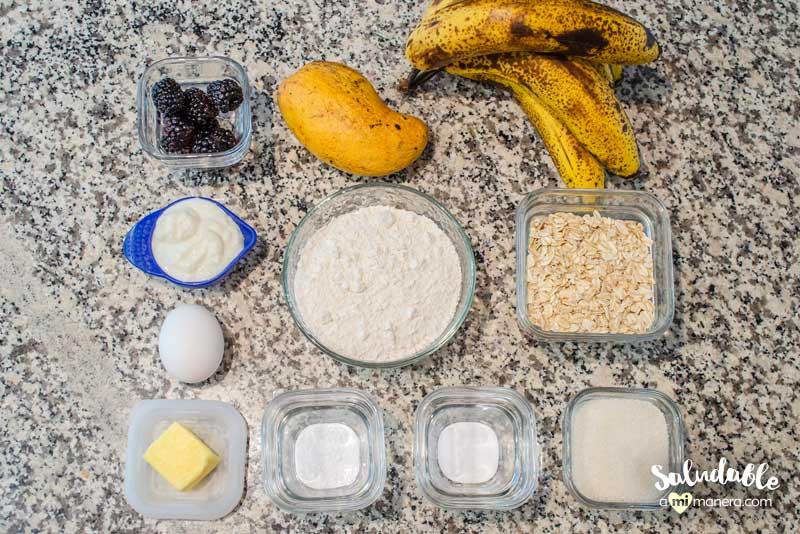 pan de banana con mango y zarzamoras ingredientes