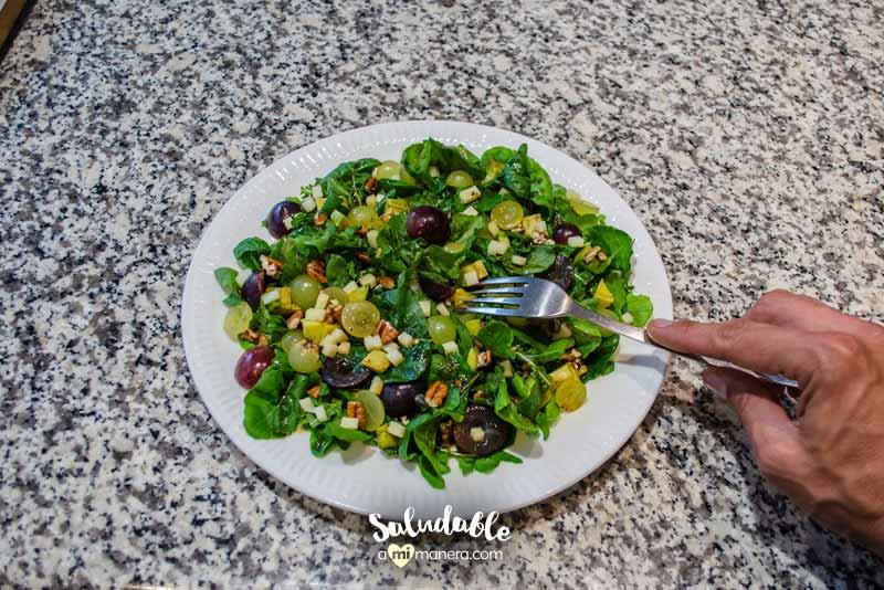 probando ensalada